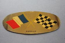 MY Ancien autocollant drapeau damier course bleu blanc rouge autolux voiture