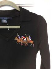 Ralph Lauren Sweater Dress Medium Black  logo Blue Label wool soft collar New