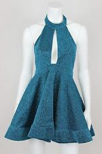 Luxxel Dress Small Blue Halter Sparkly Skater Backless Short Party Plunge Sequin