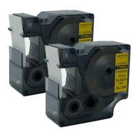 Compatible DYMO Rhino Flexible Nylon Industrial Label Tape Black on Yellow 24mm