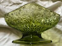 Vintage INDIANA GLASS Diamond Shape Green Glass Floral Footed Candy Dish Bowl