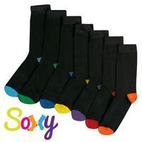 12 Pairs Mens/Boys Cotton Rich Colour Heel & Toe Black Socks Sizes  9-12 12-3