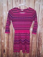 Girls Sweater Dress Sz 10/12 3/4 Sleeve Hot Pink Black Geo Print Banded Waist
