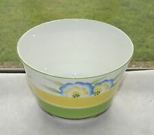 Art Deco CWS Windsor China Hand Painted Sugar Bowl Yellow, Green and Blue
