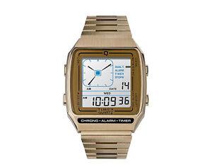 Timex Q Reissue Digital LCA 32.5mm Steel Bracelet Gold Watch TW2U72500ZV