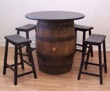 "White Oak Whiskey Barrel Table-36"" Tabletop (4) 24"" Black Bar Stools"