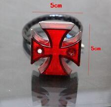 Universal Motorcycle Chrome Maltese Cross LED Tail Brake Rear Light 12V -Red