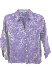Scott Taylor Womens S Purple Silver Crinkle 3/4 Sleeve Fitted Button Front Top