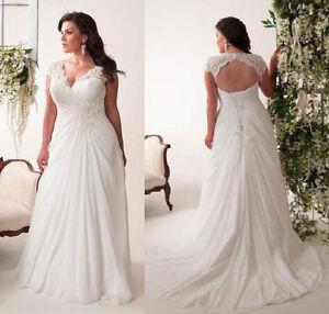 White Ivory Plus Size Wedding Dress Boho Bridal Gown with Lace Custom Made