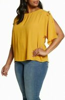 Vince Camuto Women's Blouse Yellow Size 2X Plus Split Sleeve Keyhole $99 #429