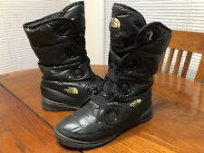 Womens The North Face Black Goose Down Lace Up Snow Boots Size 9