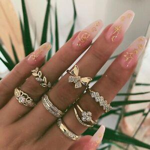 7 teiliges Ring Set Ringe Bohemian Indi Modeschmuck Glitzer Krone Love Schmuck