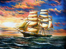 Sea wave Sailing boat Landscape Full drill 5D Diamond Painting Home Decor N6264