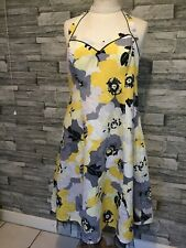 Used Lined Summer Dress Size 12 By Debut Yellow Black Halter Cruise Cocktail