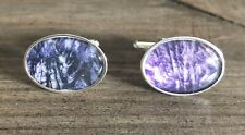 Rare Derbyshire Blue John Large Stone Solid Silver Cufflinks J2292