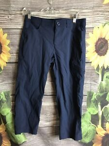 Eddie Bauer Cropped Stretch Nylon Blend Hiking Pants Women Sz 8 Navy Blue 32x20