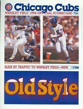1994 Chicago Cubs vs Cincinnati Reds Scorecard: Sammy Sosa on Cover