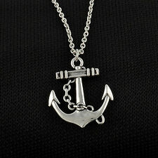 One Vintage Silver Retro Anchor Alloy Chain Pendant Necklace simple jewelry