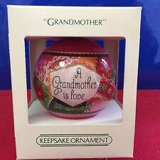 Hallmark Unbreakable Satin Ball Ornament Grandmother 1982 New In Box