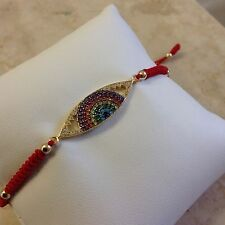 New Sterling Silver 925 Yellow Gold Zircon Evil Eye Multi Color Macrame Bracelet