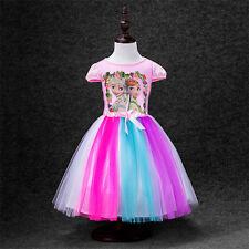 Mädchenkleid Eiskönigin Frozen Anna Elsa Tüllkleid Cosplay Partykleid Kostüm