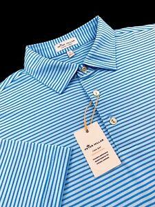 Peter Millar Crown Sport Summer Comfort Performance Stripe Polo Shirt Blue S-XL
