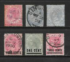 1867 Queen Victoria Collection of 6 stamps Used STRAITS SETTLEMENTS