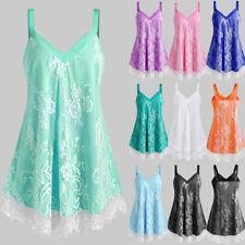 AU Plus Size Womens Summer Strappy Lace Floral Vest Tops T Shirt Mini Sun Dress