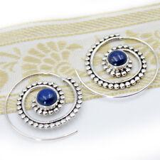 Lapis Lazuli Ohrringe Creolen Sterling Silber 925 Durchzieher Lapislazuli S
