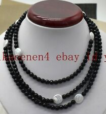 25/36/50 Inch 6mm Faceted Black Agate 12-13mm Coin White Baroque Pearl Necklace