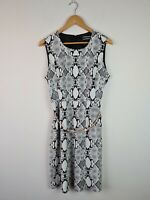 Basque Monochrome Snakeskin Animal Print Corporate Sheath Dress Women's Size 14