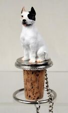 Pit Bull Terrier White Dog Hand Painted Resin Figurine Wine Bottle Stopper