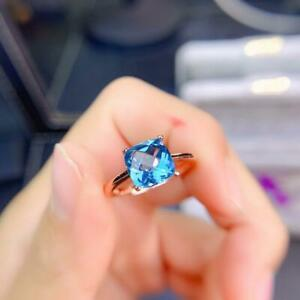 2CT Solitaire Cushion Cut Aquamarine Womens Engagement Ring 14K Rose Gold Over