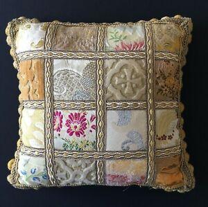 BEVILACQUA Italian Square Throw Accent Pillow Antique Silk Remnant Pompom Italy
