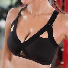 Women Sports Bra Front Cross Side Strech Solid Sport Lift Bra Workout Yoga