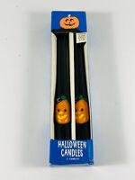 Vintage Atico Halloween Black Pumpkin Jack-O-Lantern Candles NIB
