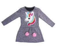Girls Kids Grey Long Changing Sequenced Pony Unicorn Warm Long Sleeved Jumper
