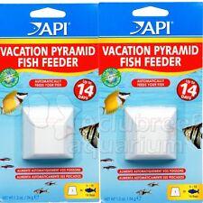 14 Day Dissolving Pyramid Block Fish Food Vacation Feeder Aquarium API 2 PACK
