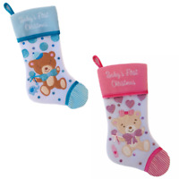 Baby's 1st Christmas Stocking Blue Boy Pink Girl Kurt Adler New Your Choice Each