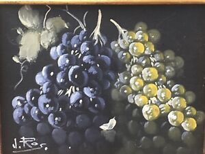 Vintage Original Still Life Oil on Canvas Painting Batch Of Grapes Signed J. Ros