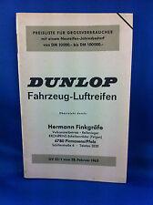 Dunlop Preisliste Fahrzeug Luftreifen 1962 GV22/1 Finkgräfe ***WIE NEU***