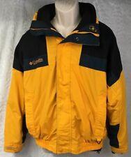 Mens Columbia Sportswear Zip Up Jacket Coat Size M Lined Yellow Black Nylon