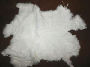 "Soft WHITE Rabbit Fur Pelt Hide  10""x11.5""      #7353"