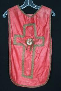 ANTIQUE FRENCH EARLY 19TH C RED COTTON  RELIGIOUS CHAUSABLE VESTMENT