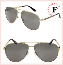 028d2575a1 Gucci Men Women Gg0137s 61 Gold grey Sunglasses 61mm