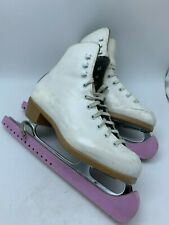 Riedell Ice Skates Women's 6 White Leather MK Stainless Blades