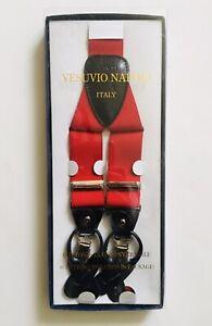 New Men's Vesuvio Napoli Suspenders Braces clip on formal party Red