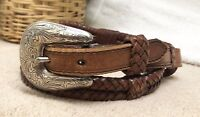 "Tony Lama Women's 30"" Belt Brown Leather Braided Double Wrap Western Waist  VGC"