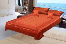 New 100% Silk King Size Super Brocade Design Flat Sheet Pillow Case Bedspread
