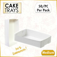 Paper Takeaway Food Trays 50 Qty Medium White Fish, Chips, Cake Trays Disposable